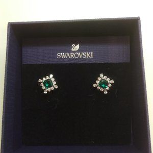 Swarovski New Green and Silver Square Earrings